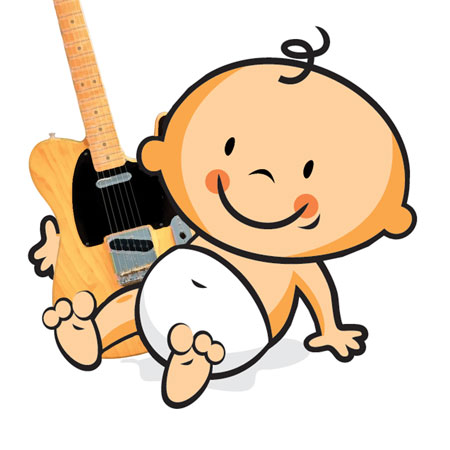 toddler with a Telecaster